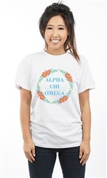 ALPHA CHI OMEGA SPRING FLOWERS UNISEX TEE