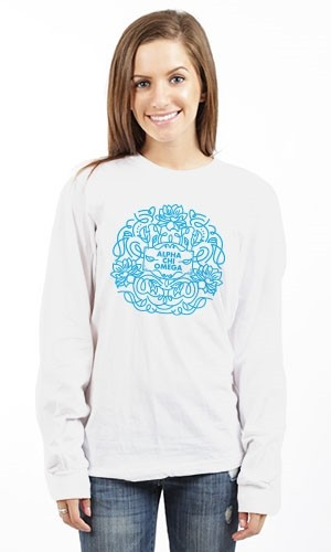 ALPHA CHI OMEGA FLOWER SIGN LONG SLEEVE TEE