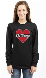 CHI OMEGA HEART LONG SLEEVE TEE