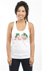 ALPHA PHI MOUNTAIN LETTERS RACERBACK TANK