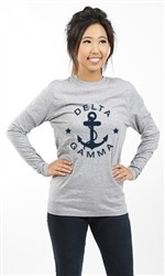 DELTA GAMMA ANCHOR AND STARS LONG SLEEVE TEE