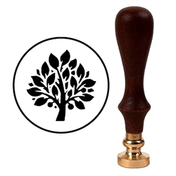Wax Seal Stamp with Brown Wood Handle & Round Brass die - Family Tree