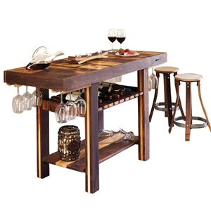 Recycled Barrel Stave Console & 2 Pub Stools Set
