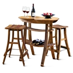 Barrel Stave Table & 2 Stools