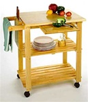 Beechwood Kitchen Cart with Cutting Board, Knife Block, and Shelves