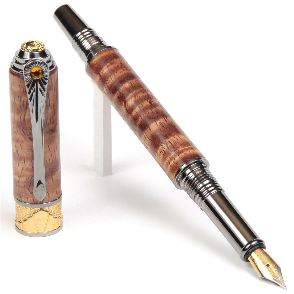 Art Deco Fountain Pen - Hawaiian Koa