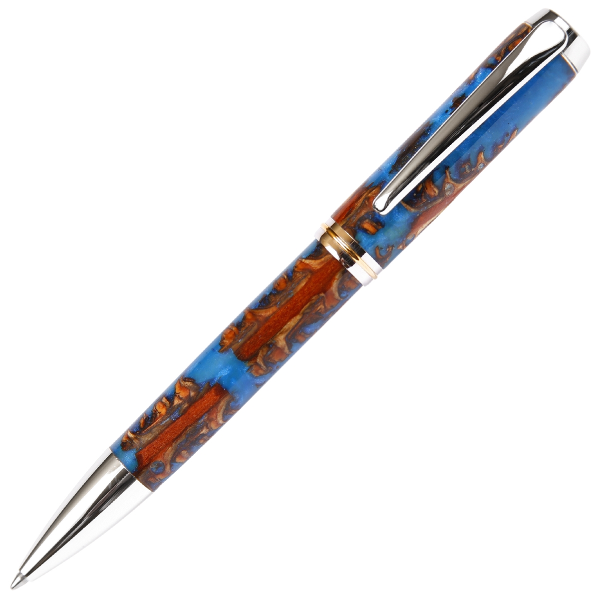 Baron Ball Point Pen - Turquoise Pine Cone