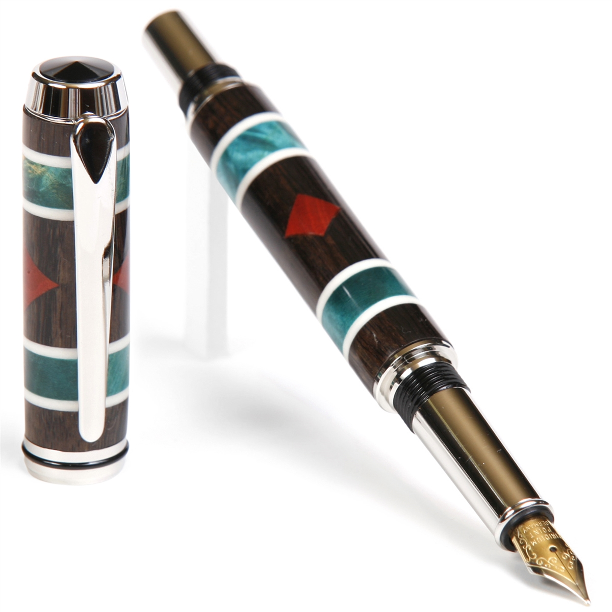 Baron Fountain Pen - Blackwood & Turquoise Box Elder with Bloodwood Inlays