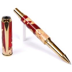 Baron Rollerball Pen - Red and Silver Burl End Cap