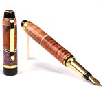 Cigar Fountain Pen - Curly Koa, Pyinma with Maple Burl Inlays