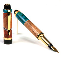 Cigar Fountain Pen - Walnut & Amboyna Burl with Turquoise Inlays