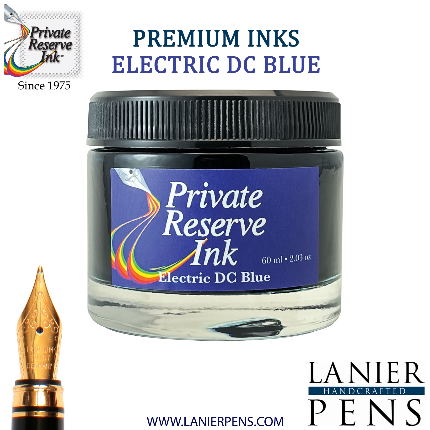 Private Reserve Electric DC Blue Fountain Pen Ink Bottle 37-eb Lanier Pens
