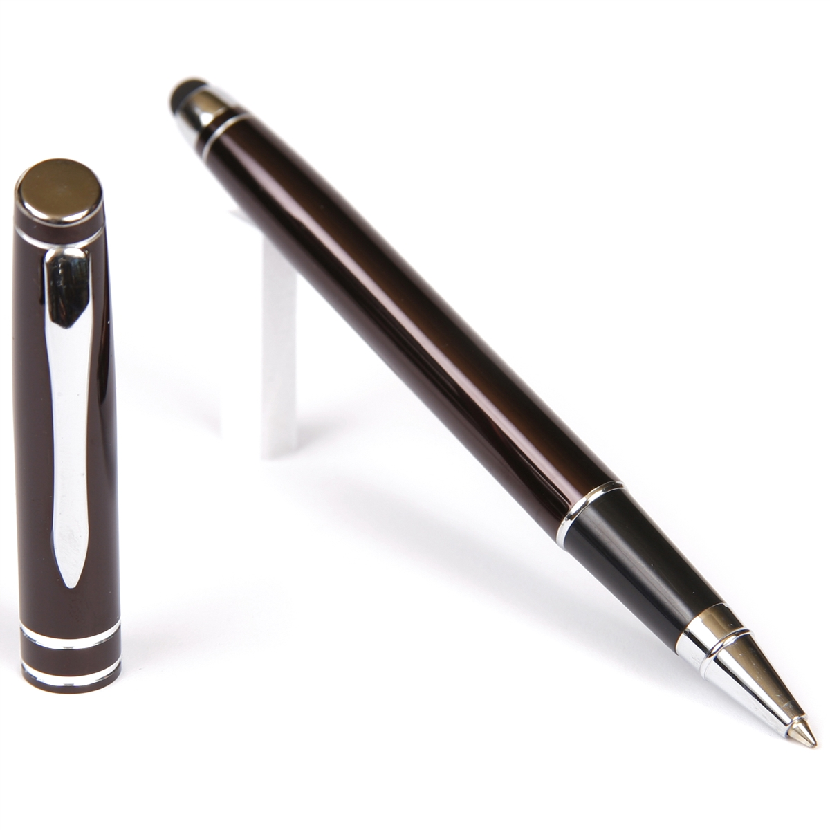 D206 - Gun Metal Rollerball Pen with Stylus
