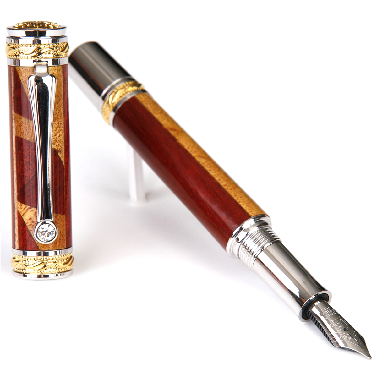 Majestic Fountain Pen - Yellow Heart with Bloodwood & Maple Inlays