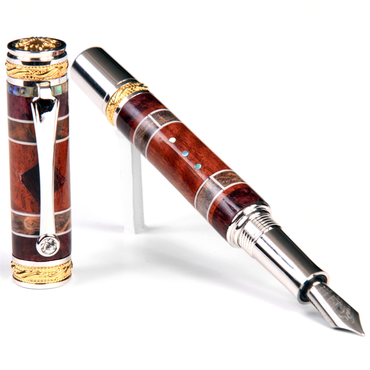 Majestic Fountain Pen - Beeswing Narra, Amboyna Burl, Purple Box Elder Inlays & Gray & Black Burl Inlays