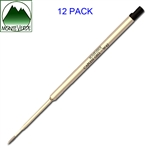 12 Pack - Monteverde® Capless Gel to fit Waterman® Ballpoint Pens - Black