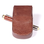 Leather Pen Box Round – Brown Triple