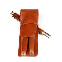 Leather Pen Holder – Tan Double
