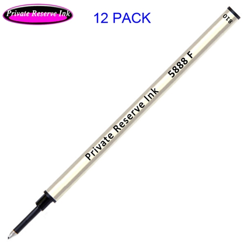 12 Pack - Private Reserve Ink Schmidt 5888 Rollerball Metal Refill - Black Ink Fine