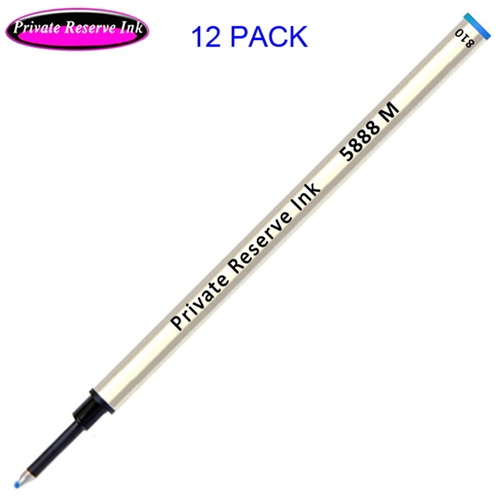 12 Pack - Private Reserve Ink Schmidt 5888 Rollerball Metal Refill - Blue Ink Medium