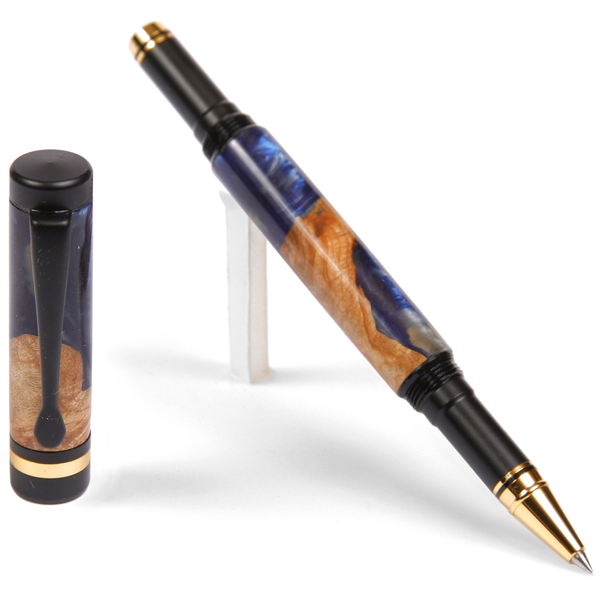 Classic Rollerball Pen - Blue and Silver Burl End Cap