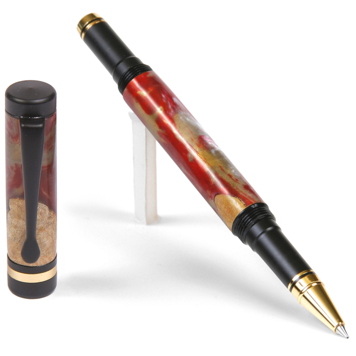 Classic Rollerball Pen - Red and Silver Burl End Cap