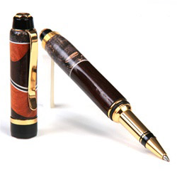 Cigar Rollerball Pen - Rosewood & Gray Maple with Pernambuco Inlays