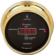 Mystic Wireless Brass Temperature/Barometric Pressure Set