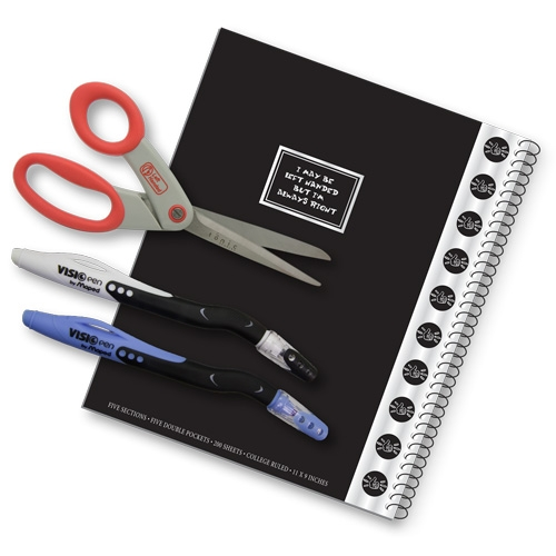 4 Piece Left Handed College Set Including Notebook Scissors And