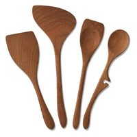 4 Piece Left Handed Cherrywood Utensil Set