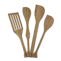 Set of Left-Handed Bamboo Kitchen Utensils