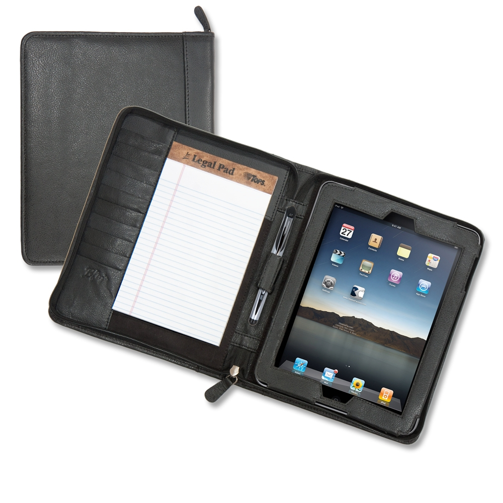 low priced b978b 85e12 Left-handed Zippered iPad Leather Padfolio, Black YoroPen & Small Notepad