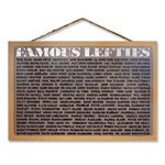 Wooden Sign with Famous Left-handers Names