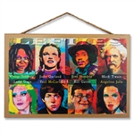 Famous Leftie Portraits Wooden Sign