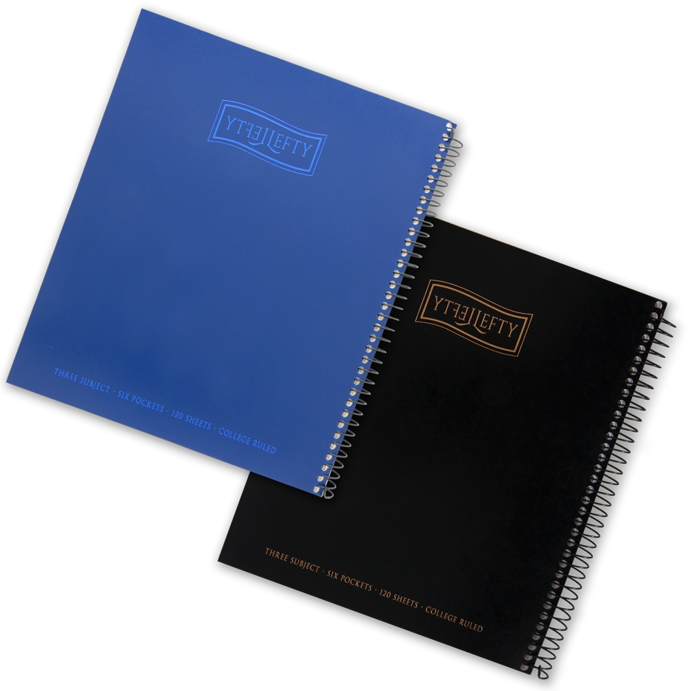 "Left-Handed ""Lefty"" Three Subject Spiral Notebook"