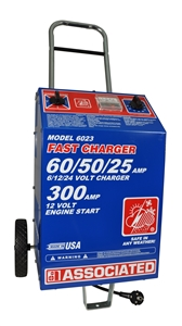 6023 Associated 60/50/25/300 Amp 6/12/24 Volt Commercial Automotive Battery Charger (230 VAC)