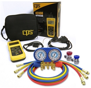 AM134BUQ/AS CPS 134A Automotive Manifold Gauge Set With Free CAN/OBDII Digital Scanner Tool
