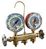 "22225CM JB Industries R-22 / R-404A / R-410A Patriot 2 Valve Manifold with 1% Accuracy Illuminating 3-1/8"" Gauges with Camouflage Faces and No Hose Set"