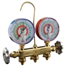 "22246 JB Industries R-22 / R-404A / R-410A Patriot 2 Valve Manifold with 1% Accuracy Illuminating 3-1/8"" Gauges and 60"" Kobra® Secure Seal Hose Set"