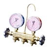 "22500 JB Industries Patriot 2 Valve Brass Manifold R-410A with 2-1/2"" Gauges and No Hose Set"