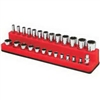 "727 Mechanic's Time Savers 1/4"" Shallow/Deep 26-Hole Socket Holder - Rocket Red"