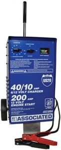 US20 Associated 40/10/200 Amp 6/12 Volt Manual Automotive Battery Charger W/ Start (Remanufactured)