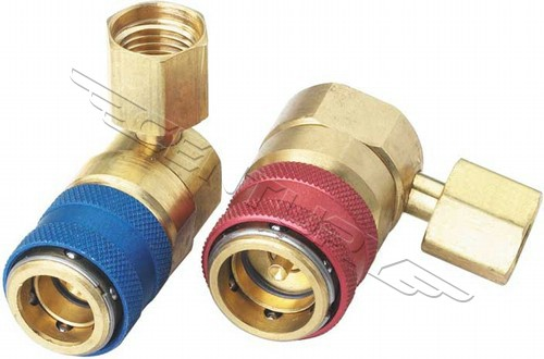 Acouto Pair of R134a Car Air Condition Fluoride Joints Quick Couplers Connectors for Refrigerant R134a