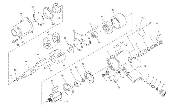 Ingersoll Rand 231c 12 Drive Air Impact Wrench Repair Parts