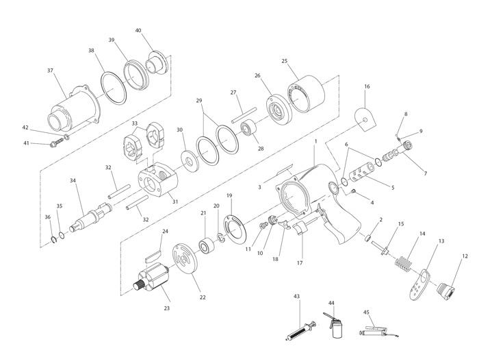 2 Drive Air Impact Wrench Repair Parts