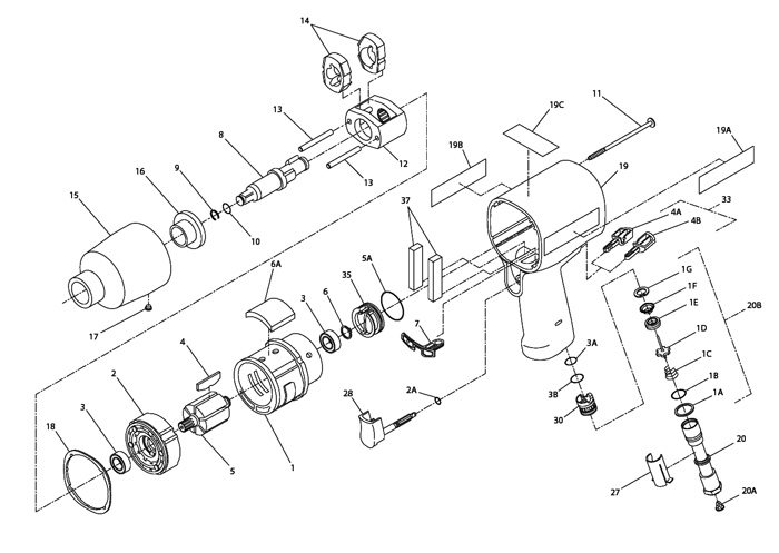 Ingersoll Rand 2131 12 Drive Air Impact Wrench Repair Parts