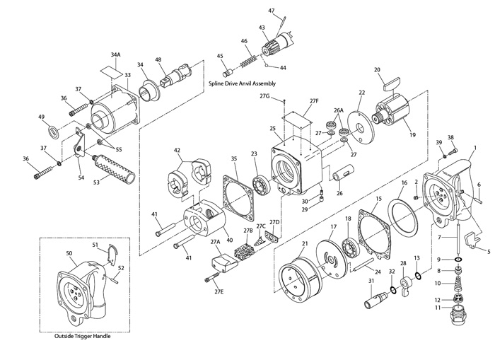 Ingersoll Rand 2940 1 Drive Air Impact Wrench Repair Parts