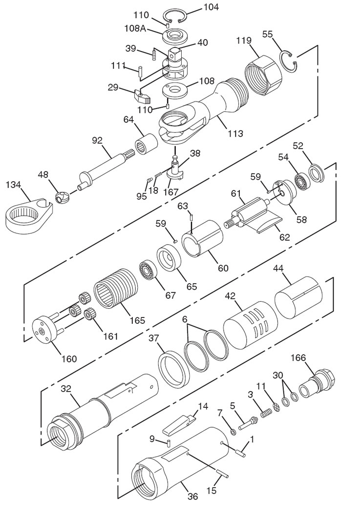 Chicago Pneumatic CP826 Air Ratchet Repair Parts