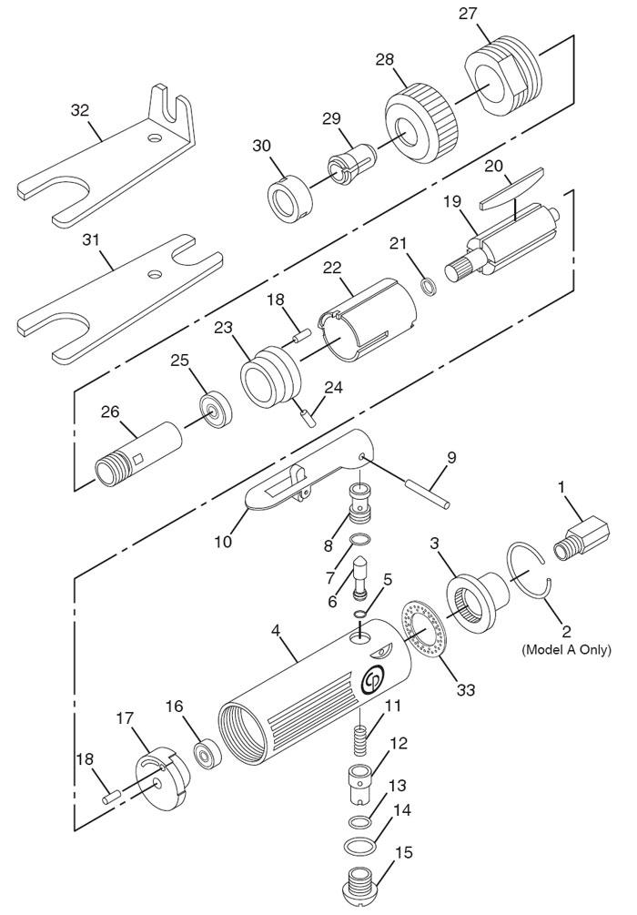 Chicago Pneumatic CP872 Die Grinder Repair PartsCentury Tool & Equipment