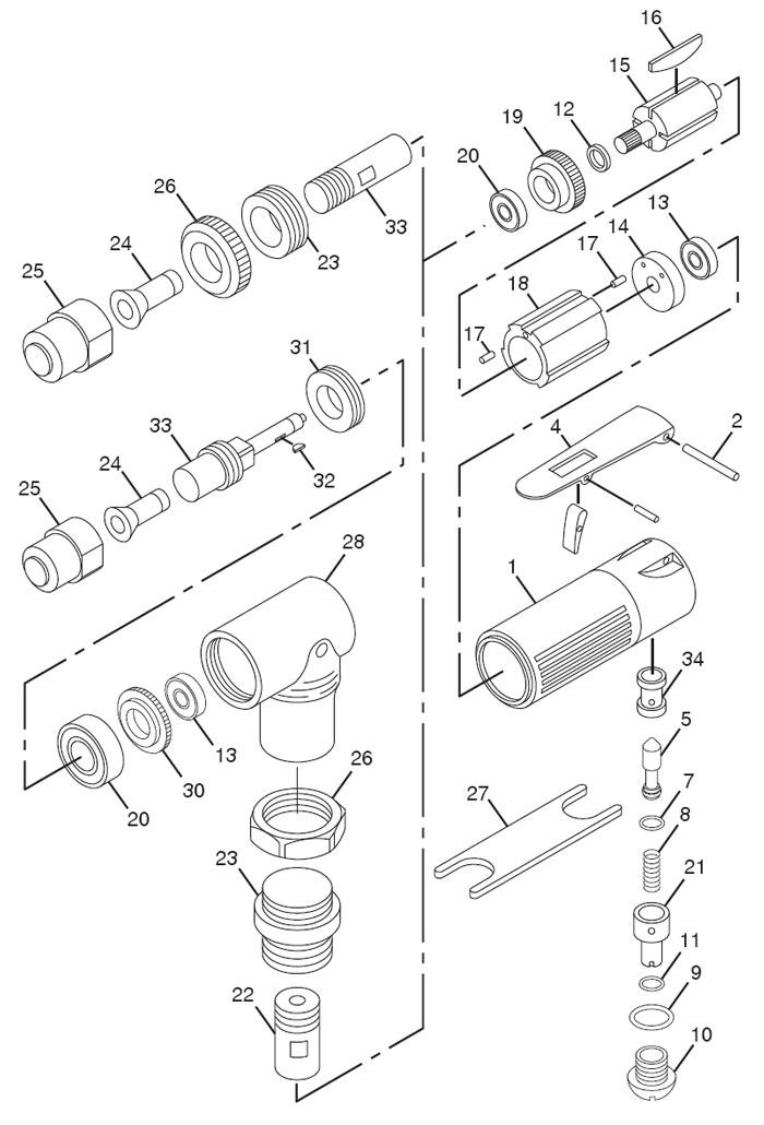 Chicago Pneumatic CP876 Die Grinder Repair PartsCentury Tool & Equipment
